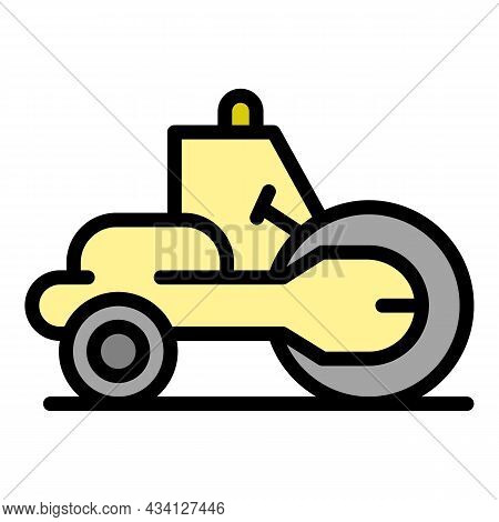 Construction Road Roller Icon. Outline Construction Road Roller Vector Icon Color Flat Isolated