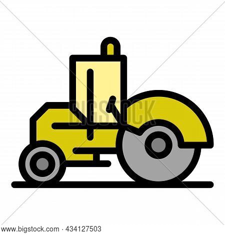 Builder Road Roller Icon. Outline Builder Road Roller Vector Icon Color Flat Isolated