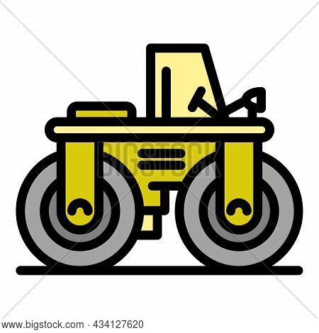 Paving Road Roller Icon. Outline Paving Road Roller Vector Icon Color Flat Isolated