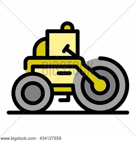 Making Road Roller Icon. Outline Making Road Roller Vector Icon Color Flat Isolated