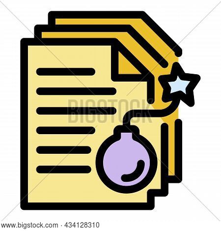 Bomb Fraud Documents Icon. Outline Bomb Fraud Documents Vector Icon Color Flat Isolated