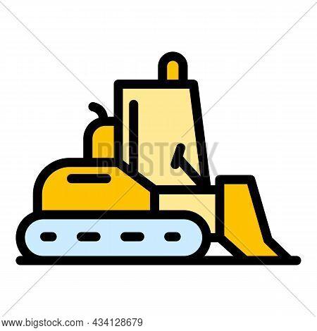 Building Bulldozer Icon. Outline Building Bulldozer Vector Icon Color Flat Isolated