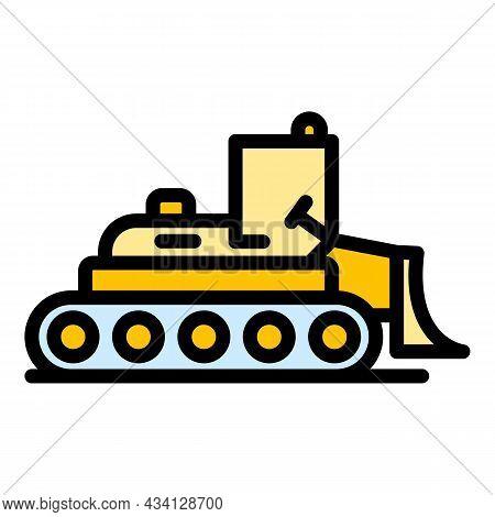 Digger Bulldozer Icon. Outline Digger Bulldozer Vector Icon Color Flat Isolated