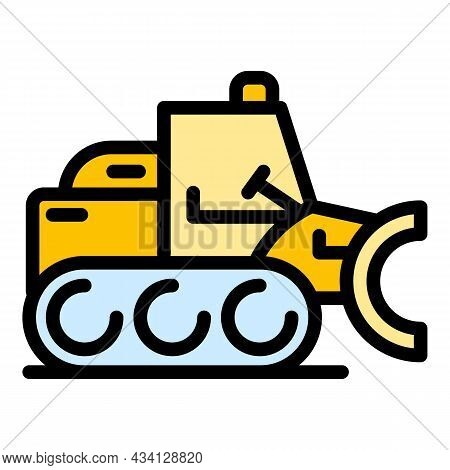 Vehicle Bulldozer Icon. Outline Vehicle Bulldozer Vector Icon Color Flat Isolated