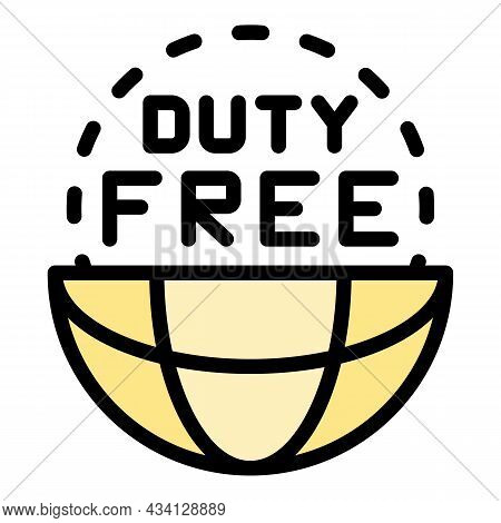 Global Duty Free Icon. Outline Global Duty Free Vector Icon Color Flat Isolated