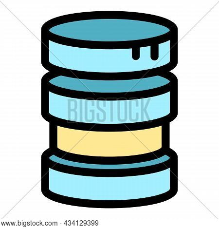 Server Data Icon. Outline Server Data Vector Icon Color Flat Isolated