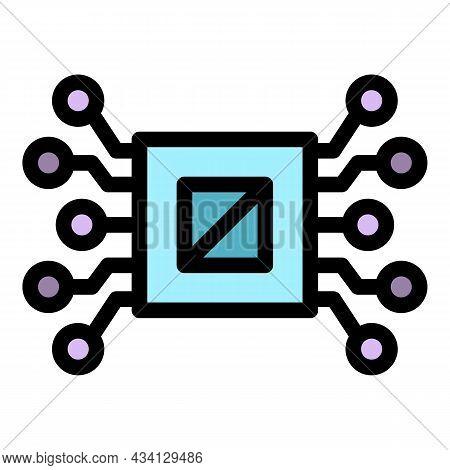 Ai Processor Icon. Outline Ai Processor Vector Icon Color Flat Isolated