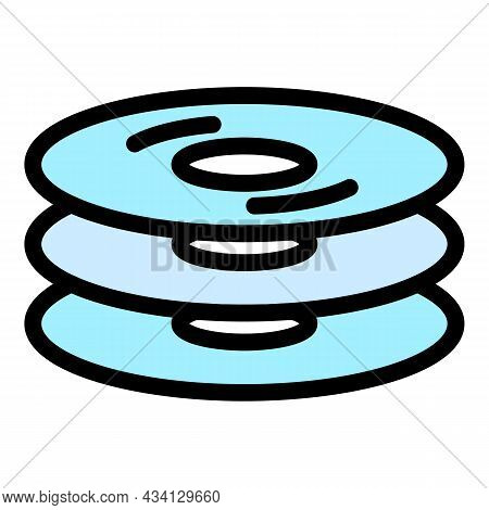 Cd Stack Icon. Outline Cd Stack Vector Icon Color Flat Isolated