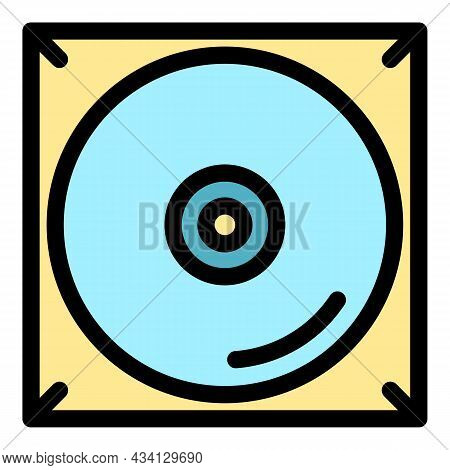 Music Cd Audio Icon. Outline Music Cd Audio Vector Icon Color Flat Isolated