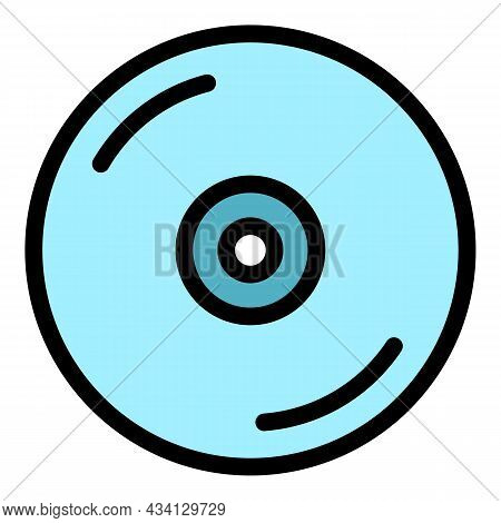 Dvd Disk Icon. Outline Dvd Disk Vector Icon Color Flat Isolated