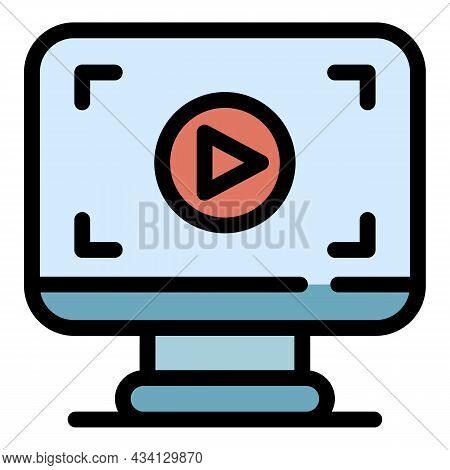 Video Screen Record Icon. Outline Video Screen Record Vector Icon Color Flat Isolated