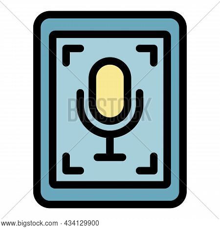 Tablet Audio Record Icon. Outline Tablet Audio Record Vector Icon Color Flat Isolated