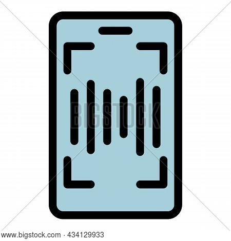 Smartphone Sound Record Icon. Outline Smartphone Sound Record Vector Icon Color Flat Isolated