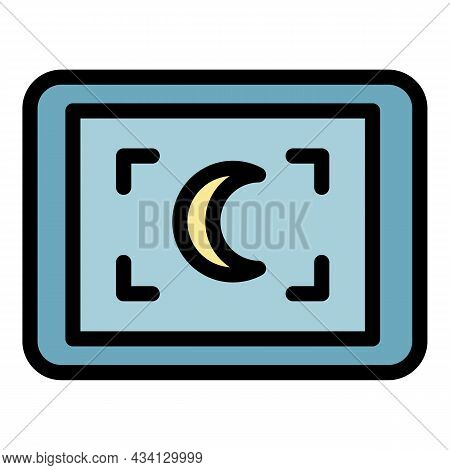 Record Night Mode Icon. Outline Record Night Mode Vector Icon Color Flat Isolated