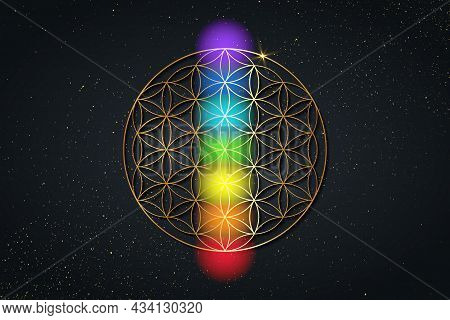 Flower Of Life And The Seven Chakras. Gold Sacred Geometry, Set Chakra Points Meditation. Colored Ch