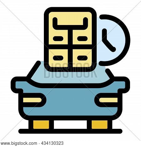 Calculate Online Taxi Icon. Outline Calculate Online Taxi Vector Icon Color Flat Isolated