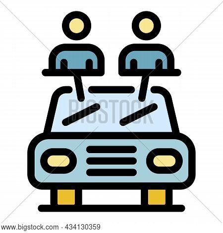 Full Passenger Taxi Car Icon. Outline Full Passenger Taxi Car Vector Icon Color Flat Isolated