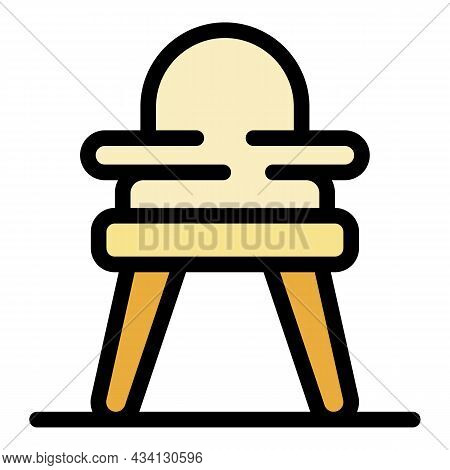 Plastic Feeding Chair Icon. Outline Plastic Feeding Chair Vector Icon Color Flat Isolated