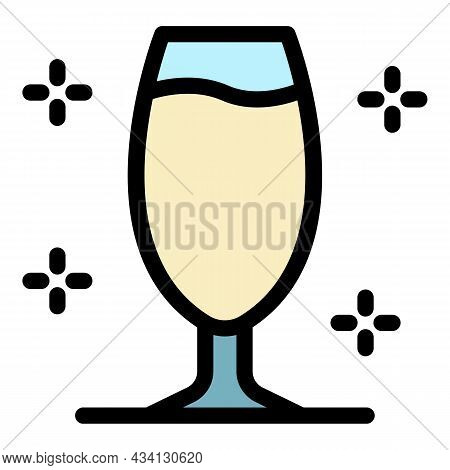 Coupe Champagne Icon. Outline Coupe Champagne Vector Icon Color Flat Isolated