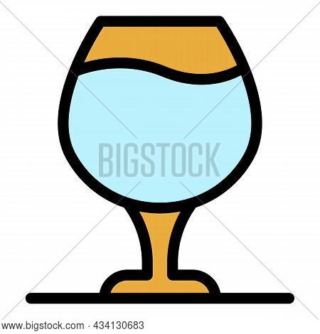 Brandy Glass Icon. Outline Brandy Glass Vector Icon Color Flat Isolated