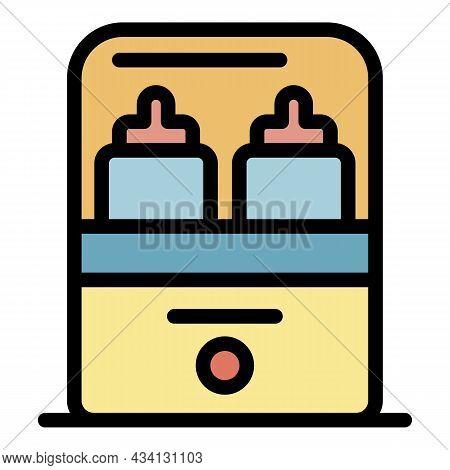 Sterillize Bottle Heater Icon. Outline Sterillize Bottle Heater Vector Icon Color Flat Isolated