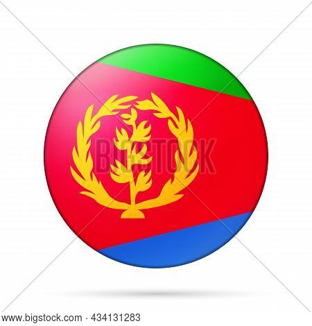 Glass Light Ball With Flag Of Eritrea. Round Sphere, Template Icon. Eritrean National Symbol. Glossy