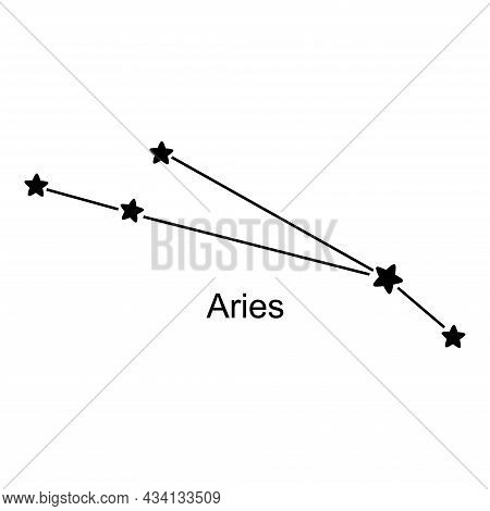 Constellation Of Zodiac Sign Aries On White Background, Vector Illustration