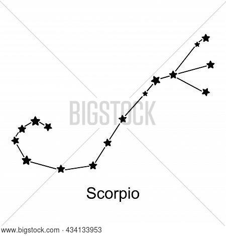 Constellation Of Zodiac Sign Scorpio On White Background, Vector Illustration