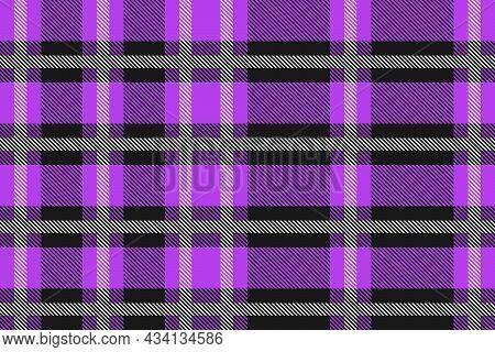 Purple And Black Scotland Textile Seamless Pattern. Fabric Texture Check Tartan Plaid. Abstract Geom