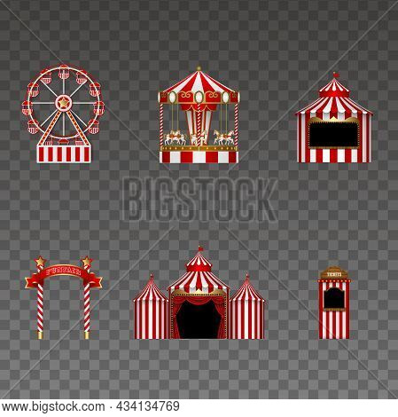 Set Of Funfair Elements. Isolated Ferris Wheel, Carousel, Stall, Signboard, Circus And Tickets Booth