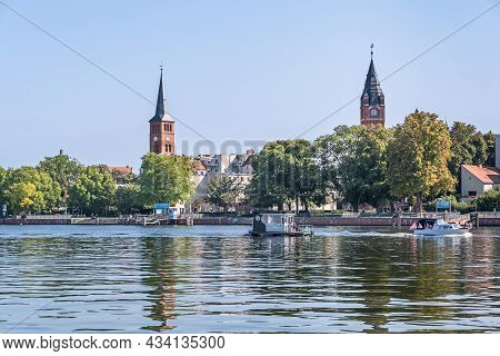 Berlin, Germany - September 6, 2021: View Over The River Dahme With Pleasure Boats At The Old City O