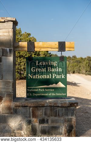 Great Basin, United States: August 4, 2020: Leaving Great Basin National Park Sign