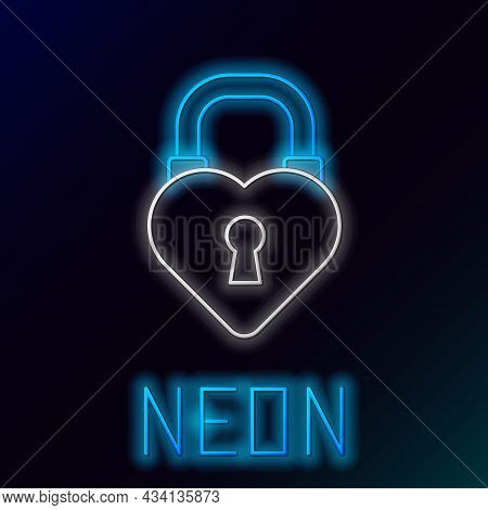 Glowing Neon Line Castle In The Shape Of A Heart Icon Isolated On Black Background. Love Symbol And