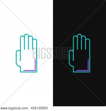 Line Rubber Gloves Icon Isolated On White And Black Background. Latex Hand Protection Sign. Housewor