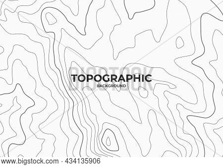 Topographic Contour Map On White Background. Hills Map Design. Cartography Pattern