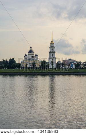 Beautiful Cathedral On The Banks Of The Volga River. Spaso-preobrazhensky Cathedral, Rybinsk, Yarosl