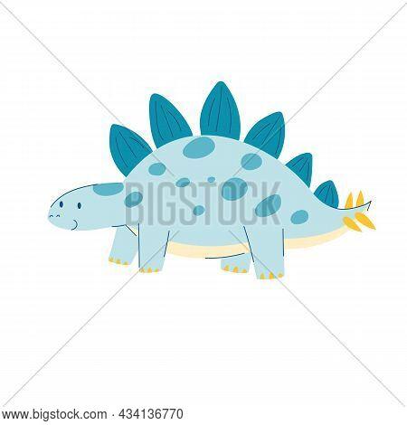Cute Cartoon Dino Stegosaurus. Dinosaur In Children's Cartoon Style. Cute Dinosaur Stock Vector Illu