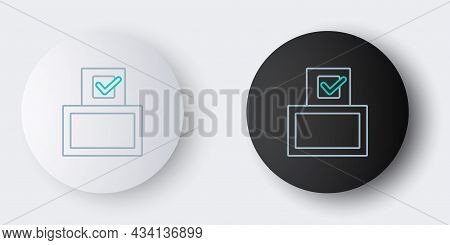 Line Vote Box Or Ballot Box With Envelope Icon Isolated On Grey Background. Colorful Outline Concept