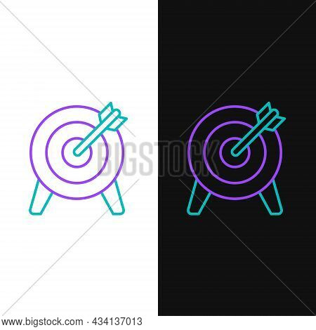 Line Target Financial Goal Concept Icon Isolated On White And Black Background. Symbolic Goals Achie