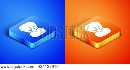 Isometric Natural Open Shell With Pearl Icon Isolated On Blue And Orange Background. Scallop Sea She