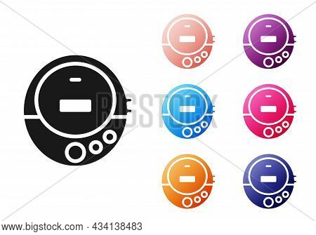 Black Music Cd Player Icon Isolated On White Background. Portable Music Device. Set Icons Colorful.