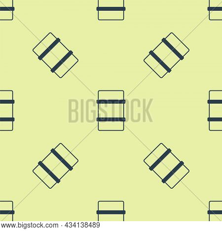 Blue Metal Beer Keg Icon Isolated Seamless Pattern On Yellow Background. Vector