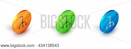 Isometric Walking Stick Cane Icon Isolated On White Background. Circle Button. Vector