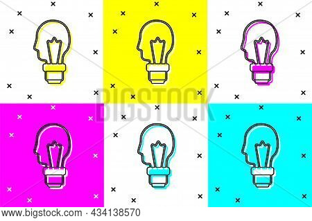 Set Light Bulb With Concept Of Idea Icon Isolated On Color Background. Energy And Idea Symbol. Inspi