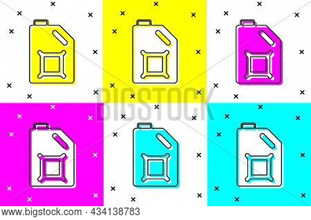 Set Canister For Motor Machine Oil Icon Isolated On Color Background. Oil Gallon. Oil Change Service
