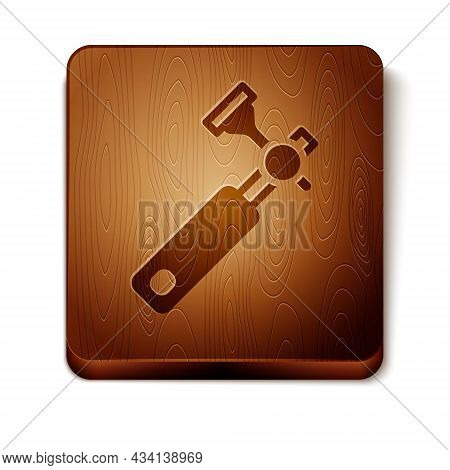 Brown Jewelers Lupe For Diamond Grading With Dimond Icon Isolated On White Background. Wooden Square