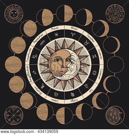Vector Circle Of The Zodiac Signs With Icons, Names, Constellations, Moon Phases, Hand-drawn Sun And