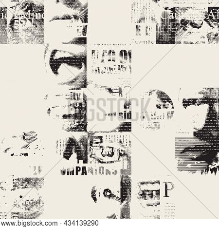 Abstract Seamless Pattern With Fragments Of Unreadable Newspaper Text, Illustrations And Titles. Mon