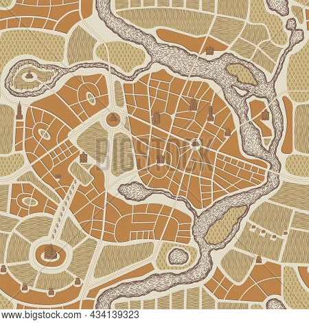 Seamless Pattern In The Form Of An Abstract City Map. Color Vector Repeating Background With Urban R