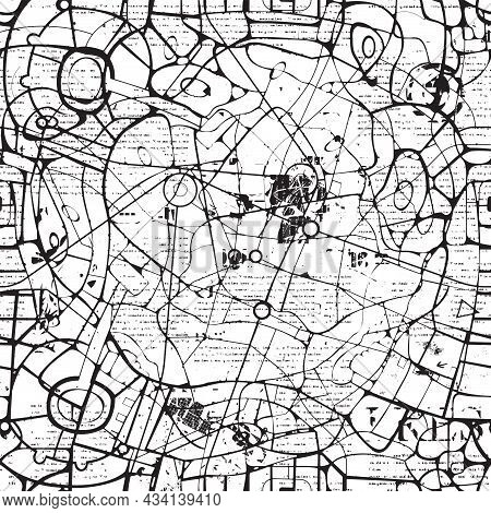 Seamless Pattern In The Form Of An Abstract Black-white City Map. Vector Background With A Schematic